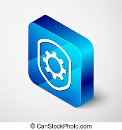 Isometric Shield with settings gear icon isolated on grey background. Adjusting, service, maintenance, repair, fixing. Blue square button. Vector Illustration