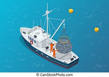 Isometric shipping seafood industry boat isolated on white background. Commercial ocean transportation Sea fishing, ship marine industry, fish boat. Fishing boat, fishing vessel