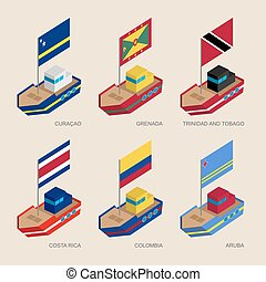 Isometric ships with flags: Curacao, Grenada, Costa Rica, Colombia, Aruba