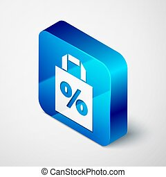 Isometric Shoping bag with an inscription percent discount icon isolated on grey background. Handbag sign. Blue square button. Vector Illustration