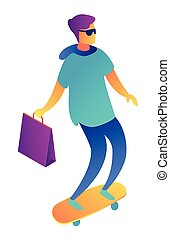 isometric, shoppen , illustration., skateboard, jonge, zak, zakenman, 3d