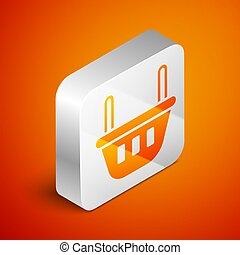 Isometric Shopping basket icon isolated on orange background. Food store, supermarket. Silver square button. Vector Illustration