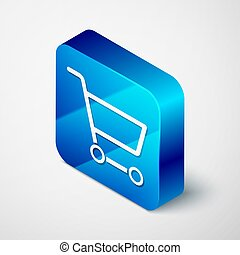 Isometric Shopping cart icon isolated on grey background. Online buying concept. Delivery service sign. Supermarket basket symbol. Blue square button. Vector Illustration