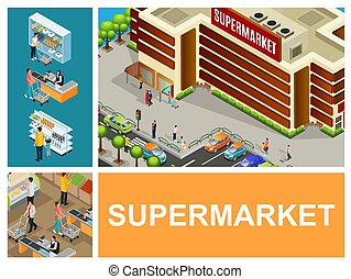 Isometric Shopping Center Composition