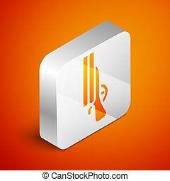 Isometric Shotgun icon isolated on orange background. Hunting gun. Silver square button. Vector