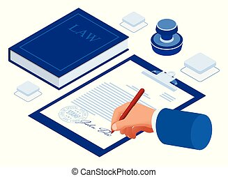 Isometric signed a contract with a stamp. Document with a signature. The form of the document. Business financial agreement or contract.