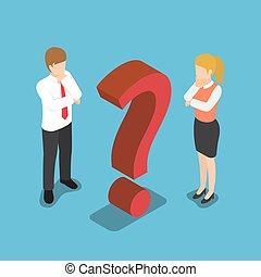 isometric, sinal., pergunta, confundido, marca, homem negócios