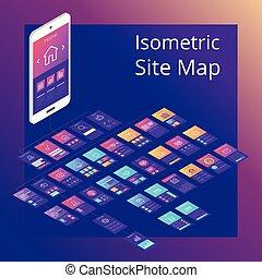 Concept of isometric website flowchart sitemap. Vector illustration.