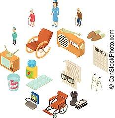 isometric, sjukvård, ikonen, sätta, stil, hem