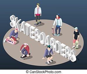 isometric, skateboarders, háttér