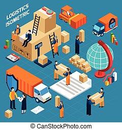 isometric, skladiště, logistika, pojem