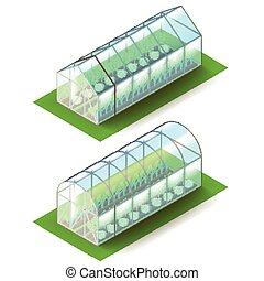 isometric, skleník, osamocený, oproti neposkvrněný, vektor