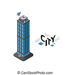 Isometric skyscraper icon, building city infographic element, vector illustration