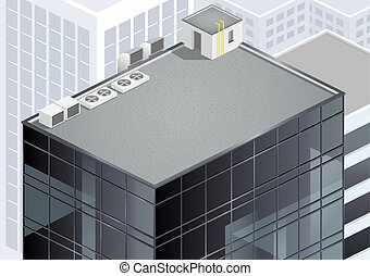 The roof of a modern building or skyscraper with communications in urban areas. Vector graphics. Isometric scheme