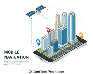 Isometric Smart City or Mobile navigation concept. Mobile gps navigation and tracking concept. Smartphone with city map path and location mark on the screen.