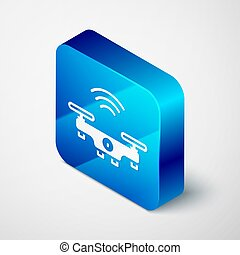 Isometric Smart drone system icon isolated on grey background. Quadrocopter with video and photo camera symbol. Blue square button. Vector