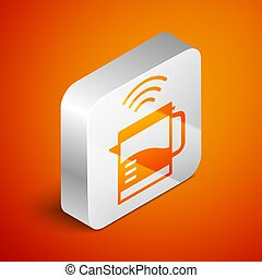 Isometric Smart electric kettle system icon isolated on orange background. Teapot icon. Internet of things concept with wireless connection. Silver square button. Vector