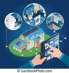 Isometric Smart Home Management Concept
