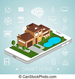 isometric smart home - Smart home with outline icons on ...