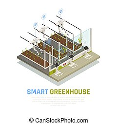 Isometric Smart Hothouse Background - Agriculture automation...