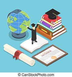 Isometric smart people in graduation suit