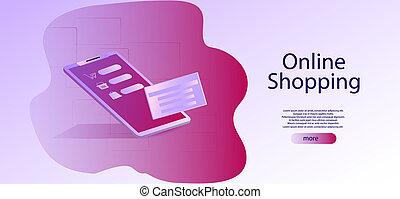 Isometric Smart phone online shopping concept, digital marketing