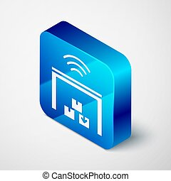 Isometric Smart warehouse system icon isolated on grey background. Blue square button. Vector