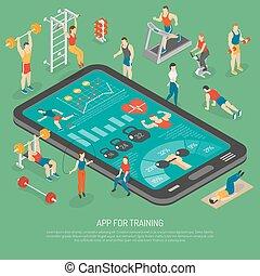 isometric, smartphone, afisz, apps, przybory, stosowność
