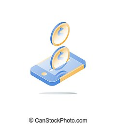 Mobile payment, online banking, financial services, smartphone and dollar coin, isometric smart phone, send money, vector icon, flat illustration