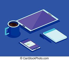 isometric smartphone digital technology
