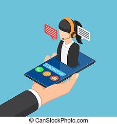 isometric, smartphone, femininas, centro, mão, chamada, segurando, homem negócios, ícone