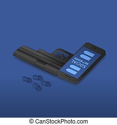 Isometric Smartphone gun weapon black color, Cyber crime in social network concept idea on blue gradient background