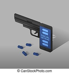 Isometric Smartphone gun weapon black color, Cyber crime in social network concept idea on grey gradient background