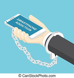 isometric, smartphone, handcuff., passe segurar, homem negócios