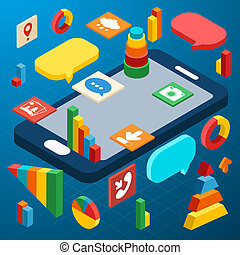 Isometric infographic business info elements icons set with smartphone vector illustration