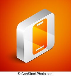 Isometric Smartphone, mobile phone icon isolated on orange background. Silver square button. Vector