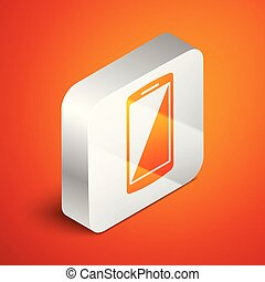 Isometric Smartphone, mobile phone icon isolated on orange background. Silver square button. Vector Illustration