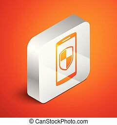 Isometric Smartphone, mobile phone with security shield icon isolated on orange background. Silver square button. Vector Illustration