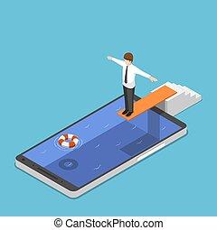 isometric, smartphone, skok, gotowy, biznesmen, trampolina, kałuża
