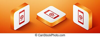 Isometric Smartphone update process with gearbox progress and loading bar icon isolated on orange background. System software update and upgrade concept. Orange square button. Vector