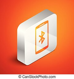 Isometric Smartphone with bluetooth symbol icon isolated on orange background. Silver square button. Vector Illustration
