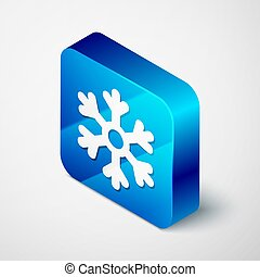 Isometric Snowflake icon isolated on grey background. Blue square button. Vector Illustration