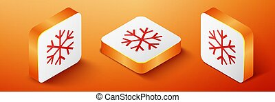 Isometric Snowflake icon isolated on orange background. Orange square button. Vector