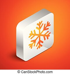 Isometric Snowflake icon isolated on orange background. Silver square button. Vector Illustration