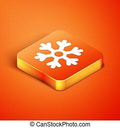 Isometric Snowflake icon isolated on orange background. Vector Illustration