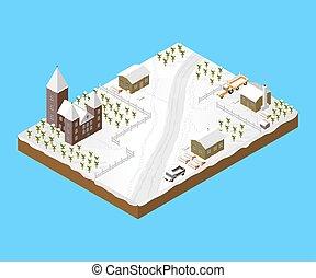Isometric Snowy Village
