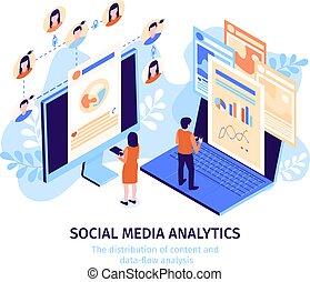 Isometric Social Media Illustration