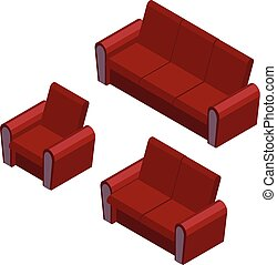 Isometric sofa and armchair set. Furniture vector icons