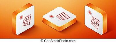 Isometric Solar energy panel and sun icon isolated on orange background. Orange square button. Vector