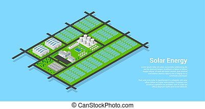 Isometric solar power plant. Solar panels with control...